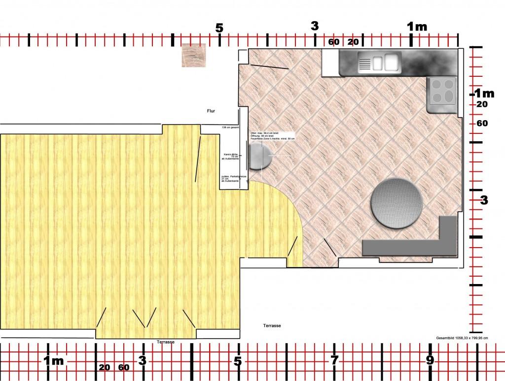 Wohnzimmer, Küche mit Parkett, Fliesen